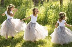 Long Grey Tutu Flower Girl Dress Flower Girl Tutu Silver | Etsy