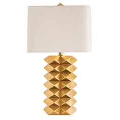 """Limited Production Design & Stock: 31"""" Tall Modernist Geometric Form Table Lamp * Gold Leaf Finish, Ivory Shade"""