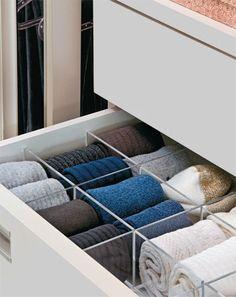 New Sock Drawer Organization Awesome Ideas Room Closet, Master Closet, Walk In Closet, Drawer Dividers, Drawer Organisers, Drawer Inserts, Closet Storage, Closet Organization, Sock Storage