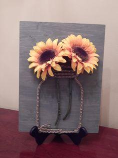 "Sunflower & Mason Jar String Art- 9""x12"" by StrungBySteel on Etsy https://www.etsy.com/listing/253961531/sunflower-mason-jar-string-art-9x12"