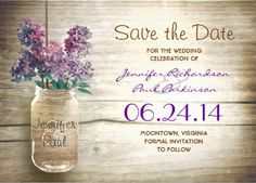 Rustic country wood mason jar and purple flowers save-the-date wedding invitations. Perfect for spring, summer and country weddings!