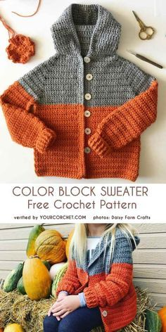 Color Block Sweater Free Crochet Pattern As autumn starts, we start looking for nice hoodie patterns for our children. They look lovely and keep kids warm during outdoor play. Here is another sweater pattern the Color Block Sweater. Beau Crochet, Pull Crochet, Crochet Baby Blanket Beginner, Crochet Baby Clothes, Crochet For Boys, Free Crochet, Knit Crochet, Crochet Hats, Crochet Sweaters
