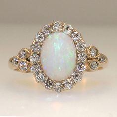 Original Art Nouveau Opal & Old Mine Cut Diamond Ring 14k