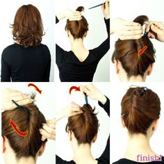 How to use Kanzashi for Layered Bob Curly hair ~ Littlemoon    If you have a Layered Bob hair,it seems too short to make your hair up using a Kanzashi hair stick, isn't it? but NO. plz try it!