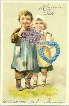 MF034-COUPLE-dENFANTS-COEUR-de-MYOSOTIS-HEART-FORGET-ME-NOT-Gaufree-Embossed