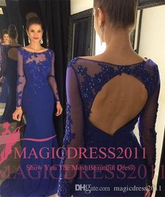 Backless Royal Blue Prom Evening Dresses 2016 Special Occasion Dress Mermaid Jewel Illusion Long Sleeve Lace Ruffled Formal Party Gowns Party Prom Dresses Beaded Formal Evening Gown Crystal Evening Gowns Online with 124.0/Piece on Magicdress2011's Store | DHgate.com