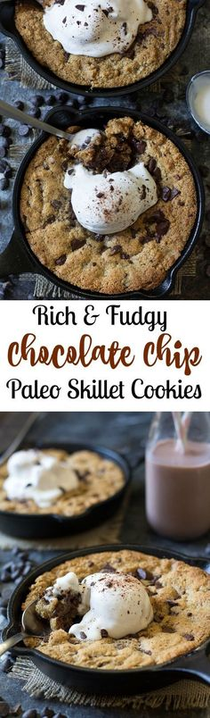 Paleo chocolate chip skillet cookies that are easy to make, rich and fudgy and packed with chocolate! Grain free, dairy free, gluten free, Paleo. Top with coconut ice cream for the ultimate Paleo dessert!