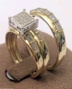 10kt Yellow Gold His Her Mens Woman Diamonds Wedding Ring Bands Trio Bridal Set (0.18ct. tw) by RG&D#gold #diamond #ring #jewelry #ringsset #trioset #men #women #his #her #engagement #bridal #wedding #groom #bridalset #engagementring #bridalring #weddingring