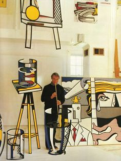 """Favoring the old-fashioned comic strip as subject matter, Roy Lichtenstein produced hard-edged, precise compositions that documented while it parodied often in a tongue-in-cheek humorous manner. His work was heavily influenced by both popular advertising and the comic book style. He described pop art as, """"not 'American' painting but actually industrial painting""""."""