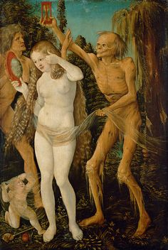 Die drei Lebensalter und der Tod/The Three Ages of Humankind and Death, c.1509/10, Hans Bildung (Grien); the infant represents childhood; the young woman, maturity; the old woman, old age; Death is personified by a rotting corpse holding an hour glass, symbolising the passing of time; the child can hardly see Death; the old woman can hardly fend him off; the young woman is too self-absorbed to notice him. (Kunsthistorisches Museum Wien, Gemäldegalerie)