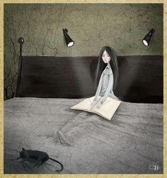 Insomnia reader / Insomnio lector (ilustración de Natalya Gaida)