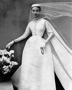 Wedding gown by Balenciaga, Harper's Bazaar, May 1952