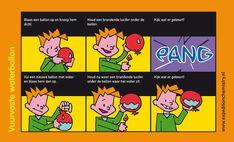 de Nederlandse versie in strip van de waterballon en de kaars Science Party, Mad Science, Science Experiments Kids, Biology, Chemistry, Physics, Comics, School, Carnival