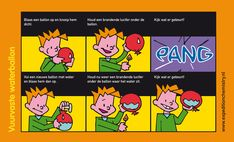 de Nederlandse versie in strip van de waterballon en de kaars
