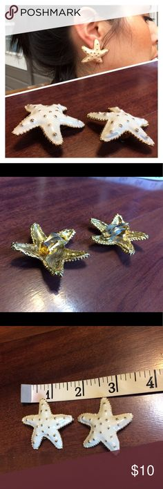 """Vintage Ivory Gold Starfish Clip On Earrings 1.5"""" each 1.5"""" in size - ivory with gold colored dots and trim. Bundle to save! 🏖 (posh only) Vintage Jewelry Earrings"""