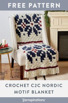 Free crochet pattern using Bernat Softee Chunky Tweeds yarn. Free Crochet No. - The Smartt Stitch Ideas Crochet Afghans, Crochet C2c, Baby Blanket Crochet, Free Crochet, Crochet Christmas Gifts, Crochet Gifts, Tweed, Unique Crochet, Afghan Crochet Patterns