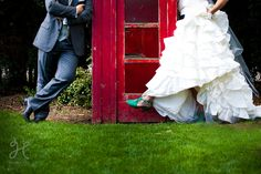 Green shoes AND a red telephone box? Hello heaven! http://heatherellis-photography.com/weddings/sarah-jeremy-married/