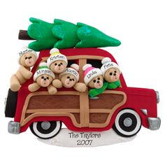 Woody Wagon Personalized Christmas Ornament - 6 Bears. This ornament and many more can be found at www.ornaments.com
