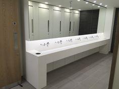 Corian trough style vanities Corian Sink, Dupont Corian, Salford Uni, Trough Sink, Restroom Design, Washroom, Bathroom Designs, Vanities, Showers