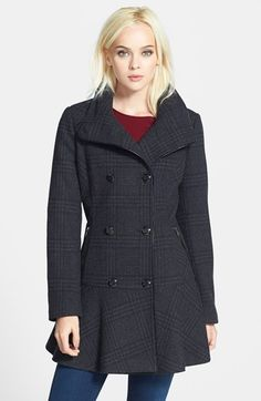 GUESS Plaid Skirted Wool Blend Coat (Online Only) available at #Nordstrom