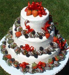 Strawberry Shortcake Wedding Cake -by Long Island Wedding Caterers