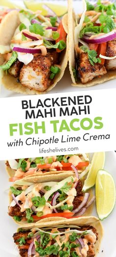 fish meal Blackened mahi mahi fish tacos with chipotle lime crema are the most refreshing way to eat your favorite fish! These tacos will make you feel like you're dining on an island with y Easy Fish Recipes, Tilapia Recipes, Mexican Food Recipes, Dinner Recipes, Grilled Fish Recipes, Healthy Taco Recipes, Recipes For Mahi Mahi, Healthy White Fish Recipes, Crockpot Fish Recipes