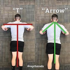 """T"" OR ""ARROW"" IN YOUR PUSH-UP? ""T"" is classified as flaring your elbows essentially creating the letter ""T"". An ""Arrow"" is classified as slightly tucking your elbows creating an arrow shape with your body. Doing push-ups in a ""T"". Increases chance of sho Cardio Workout At Home, Home Exercise Routines, At Home Workouts, Chest Workouts, Gym Workouts, Fitness Tips, Health Fitness, Sport, Push Up Workout"