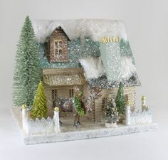 Beautiful Vintage Glitter Putz Christmas House DIY Inspiration * ♫' Tis the season to be jolly ♫ Snowy sparkle and a white picket fence = every girl's glittery dream! Pastels are Perfect for Valentine's Day or Easter Decor too! Christmas Village Houses, Cabin Christmas, Putz Houses, Christmas Villages, Christmas Paper, Christmas Wishes, All Things Christmas, Vintage Christmas, Christmas Holidays