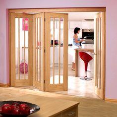 Nuvu Roomfold Lincoln Oak 4 Door Set 3 to Left - Clear Glass, 2078mm high and 2512mm or 2816mm wide. #foldinginternaldoor #internallpdnuvudoors #foldingdoors