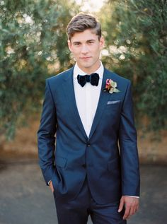 Velvet bow tie, blue fitted tux