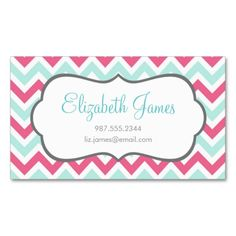 Pink and Mint Colorful Chevron Stripes Business Card. This great business card design is available for customization. All text style, colors, sizes can be modified to fit your needs. Just click the image to learn more!
