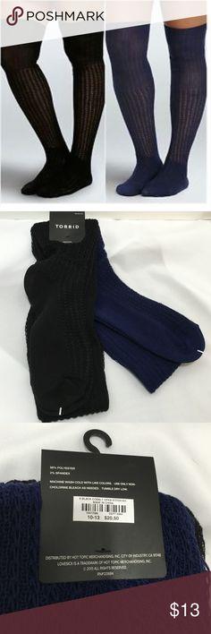 2pk Knee Highs 2 pack Torrid Open Stitch Knee Highs 1 black 1 cobalt. 98% polyester 2% spandex. Fits shoe size 10-13 torrid Accessories Hosiery & Socks