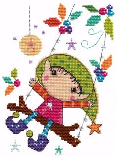 Playtime Elf - Elfin Wood - cross stitch kit by The Stitching Shed