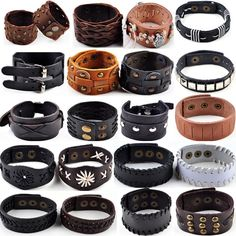 Designs Jewelry by CUPHERS Punk Hemp Braid Surfer Rivet Wide Buckle Leather Bracelet Wristband Cuff Bangle Men Women Jewelry Gift Drop Free - Brand Name: Pinksee Leather Art, Leather Cuffs, Leather Design, Leather Tooling, Leather Jewelry, Metal Jewelry, Bracelets For Men, Bangle Bracelets, Leather Bracelets