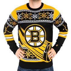 boston bruins black thematic crewneck ugly sweater