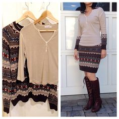Free People inspired refashion - how to upcycle a t-shirt henley with sweater sleeves. Make a skirt with leftover sweater.