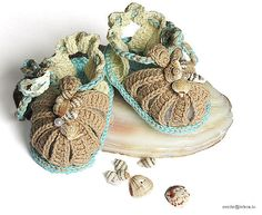 Baby summer sandals crochete beige blue sand /03M by MiaPiccina, $16.00