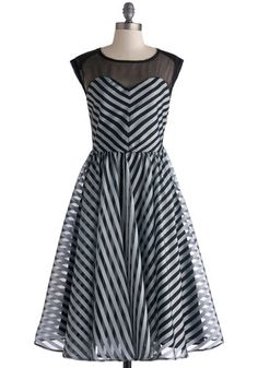 On the Moonlit Lake Dress - Black, Stripes, Party, Sleeveless, Crew, Fit & Flare, Grey