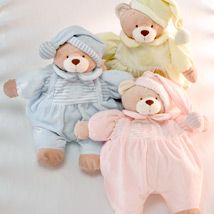 This gorgeous teddy bear pyjama holder is soft and cuddly and will be a delightful addition to the nursery.Featuring a cute pom-pom hat the bear has a back opening for pyjama storage. Pom Pom Hat, Little People, Twinkle Twinkle, Birthday Ideas, Cool Things To Buy, Bears, Pajamas, Teddy Bear, Nursery