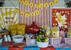 Concession table for movie night party