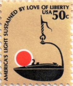 US postage stamp, 50 cents.  America's Light Sustained by Love of Liberty.  Issued  11 Sep 1979 in San Juan, PR.  Scott catalog 1608.