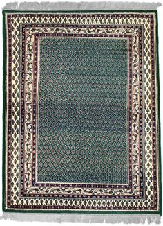 INDO, MIR, Dark Green / Ivory (Rectangle)