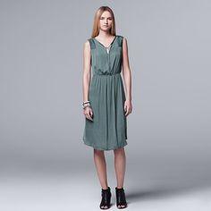 Women's Simply Vera Vera Wang Pleated Satin Fit & Flare Dress, Green