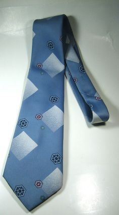 Rich Vintage G. & M. CLOTHIERS Light blue with Navy Green Red Geometric Tie RARE #GMClothiers #NeckTie #Vintage #tie