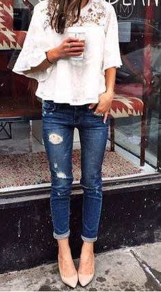 White top and denim with nude heels