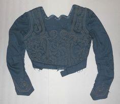 ANTIQUE EDWARDIAN BLUE CASHMERE Soutache Trim VINTAGE ORIGINAL BODICE DRESS TOP