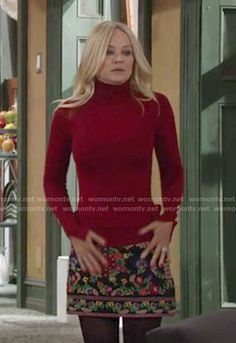 Sharon's floral embroidered skirt and red turtleneck on The Young and the Restless.  Outfit Details: https://wornontv.net/65555/ #TheYoungandtheRestless