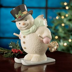 Snowy Skier Snowman Figurine by Lenox Lenox Christmas, Old World Christmas, Christmas Images, Christmas Snowman, Christmas Holidays, Christmas Ornaments, Christmas Things, Frosty The Snowmen, Collectible Figurines