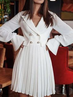 Ericdress Pleated Long Sleeve Notched Lapel Date Night/Going Out Plain Dress - Moda daily Plain Dress, Midi Dress With Sleeves, The Dress, Blazer Outfits, Blazer Dress, Shirt Dress, Coat Dress, Kimono Dress, Trend Fashion