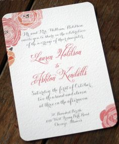 Modern Vintage Wedding Invitation: Rustic and Romantic Shabby Chic-vintage flowers on Etsy, $4.25